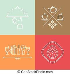 catering, vector, lineair, iconen