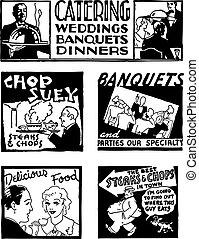 catering, vetorial, retro, gráficos