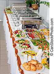 catering wedding - chafing dishes at table ready for wedding...