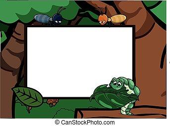 Caterpillar and ant around the