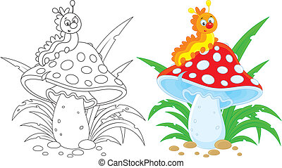 Caterpillar and fly agaric - Funny caterpillar crawling on a...