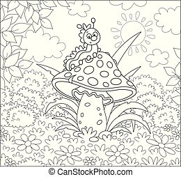 Funny larva crawling on a big amanita on a glade of a summer forest, black and white vector illustration in a cartoon style for a coloring book