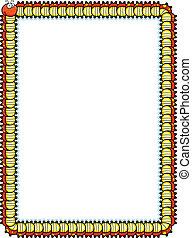 Caterpillar Border - A smiling cartoon caterpillar forming a...