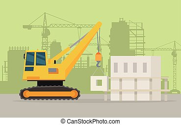 Caterpillar Building Crane on Building Area. - Building...