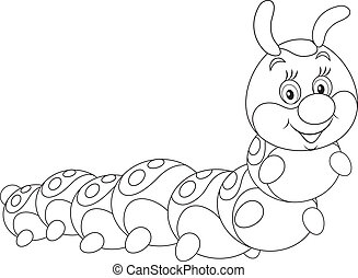 caterpillar friendly smiling, black and white outline illustration