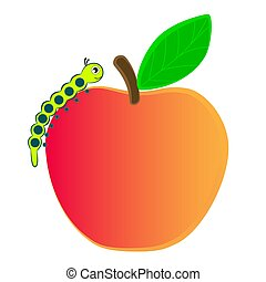 Caterpillar crawling on a ripe apple. - Cartoon caterpillar...