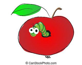 Caterpillar in apple