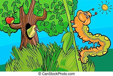 caterpillar insect cartoon character