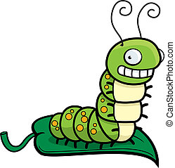 Caterpillar Leaf - A happy cartoon smiling caterpillar on a...