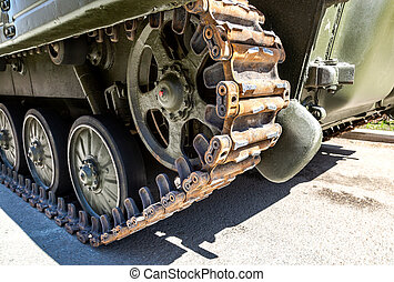 Caterpillar of the Russian armored tank