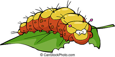 The caterpillar eats leaf on white background vector illustration
