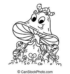 caterpillar., verde, caricatura, capim, cogumelos, cute