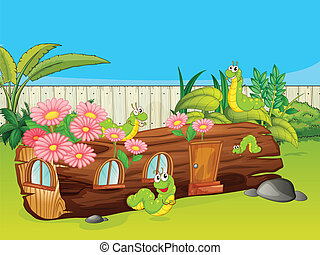 Illustration of caterpillars and a wood house in a beautiful nature