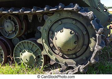 caterpillars, i, en, militær, tank, rykke sammen, detalje