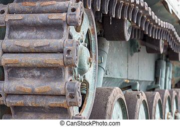 Caterpillars of a tank close-up