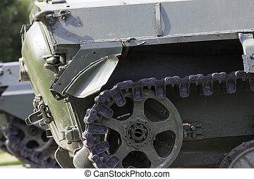 Caterpillars of the tank, close-up