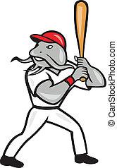 Catfish Baseball Hitter Batting Full Isolated Cartoon