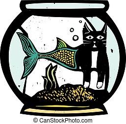 Catfish Fish Bowl - Woodcut style image of a catfish mermaid...