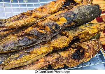 Catfish grill Thai street food.