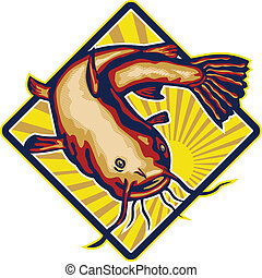 Illustration of a ray-finned fish catfish also known as mud cat, polliwogs or chucklehead jumping set inside diamond shape with sunburst done in retro style.