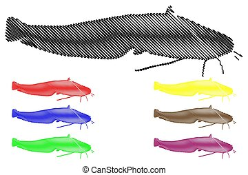 catfish silhouette vector