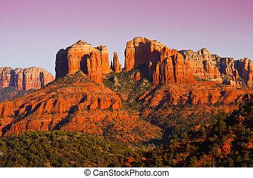 cathédrale, arizona., sedona, coucher soleil, rocher