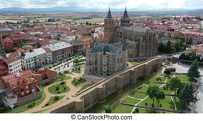 cathédrale, astorga, négligence, bourdon, espagnol, palais, secteur, gothique, vue, ville, épiscopal, résidentiel, moyen-âge