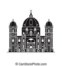 cathédrale, berlin, icône