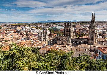 cathédrale, burgos, vue aérienne