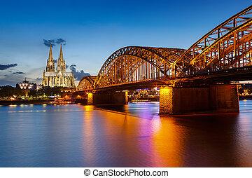 cathédrale cologne, hohenzollern, allemagne, pont