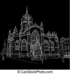 cathédrale, croquis, rue., giles