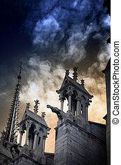 cathédrale, dame, notre