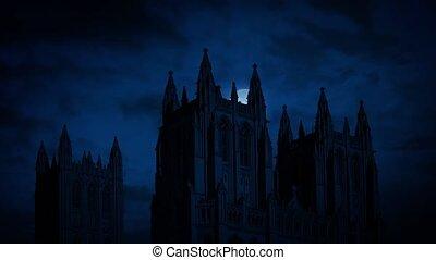cathédrale, derrière, mouvements, gothique, lune