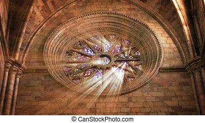 cathédrale, fenêtre, lumière