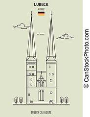 cathédrale, germany., lubeck, repère, lubeck, icône