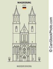 cathédrale, germany., magdeburg, repère, icône, magdeburg