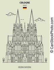 cathédrale, germany., repère, cologne, cologne, icône