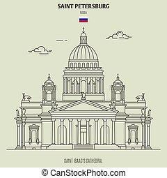 cathédrale, isaac, repère, russia., saint, icône, petersburg