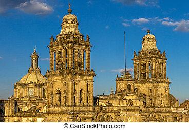 cathédrale, métropolitain, mexique, zocalo, ville