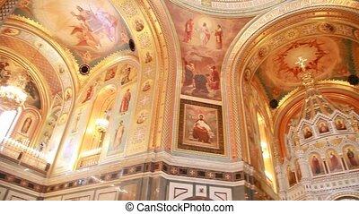 cathédrale, murs, sauveur, christ, illustration
