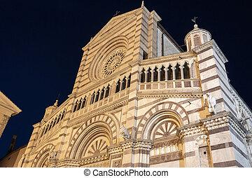 cathédrale, nuit, grosseto