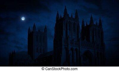 cathédrale, nuit, lune