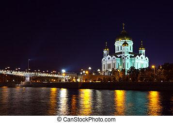 cathédrale, nuit, sauveur, christ