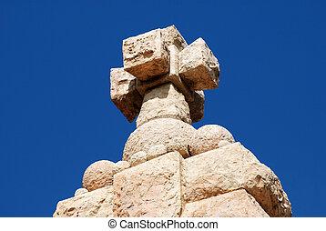 cathédrale, pierre, sommet, croix