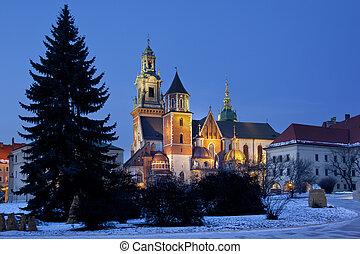 cathédrale, pologne, krakow, -, royal