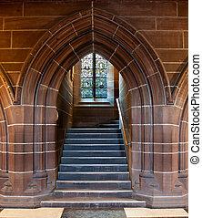 cathédrale, porte, gothique, intérieur, arqué