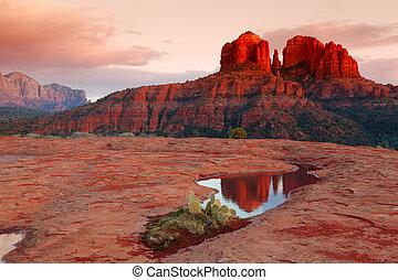 cathédrale, reflet, rocher