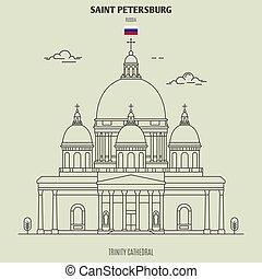 cathédrale, repère, trinité, russia., saint, icône, petersburg