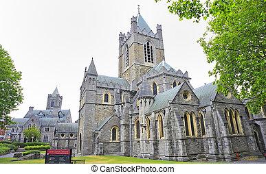 cathédrale, rue., patrick's, dublin, irlande