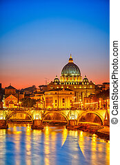 cathédrale, rue peter, nuit, rome
